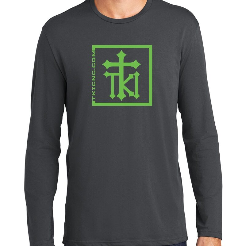 District Perfect Weight Long Sleeve Tee - Charcoal - So Flo Green