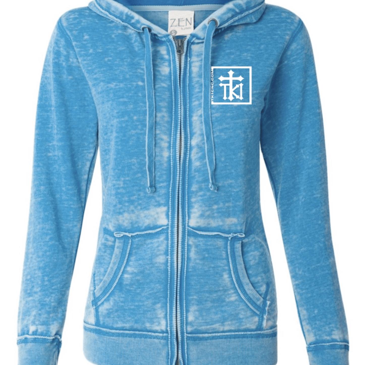 J America Ladies Zen Fleece Full-Zip Hooded Sweatshirt - Oceanberry (FRONT)